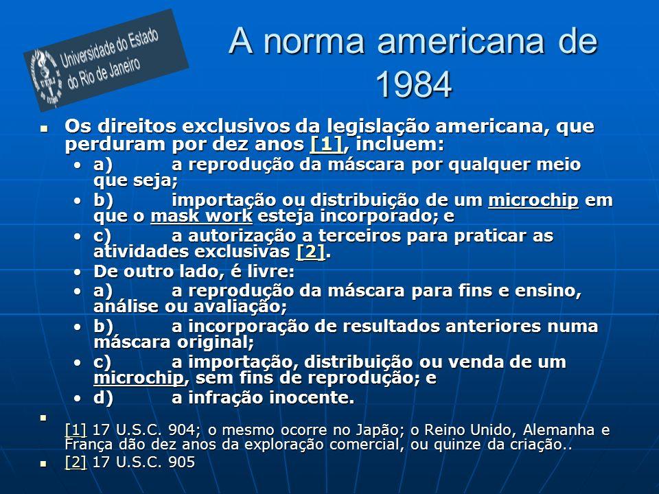 A norma americana de 1984 Os direitos exclusivos da legislação americana, que perduram por dez anos [1], incluem:
